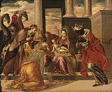 Adoración de los Reis Magos por El Greco, 1568.