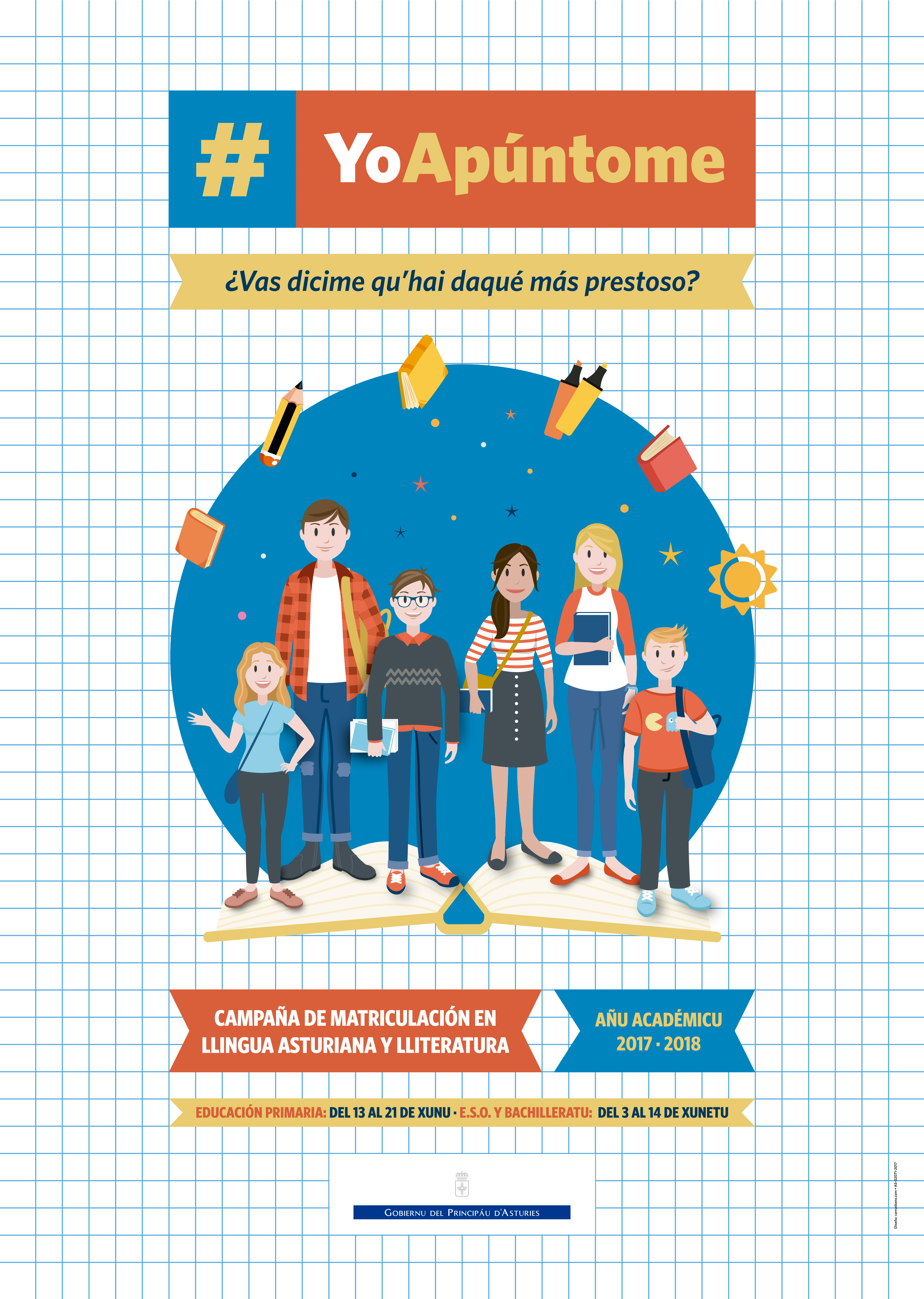 Cartelu campaña matriculación Llingua Asturiana