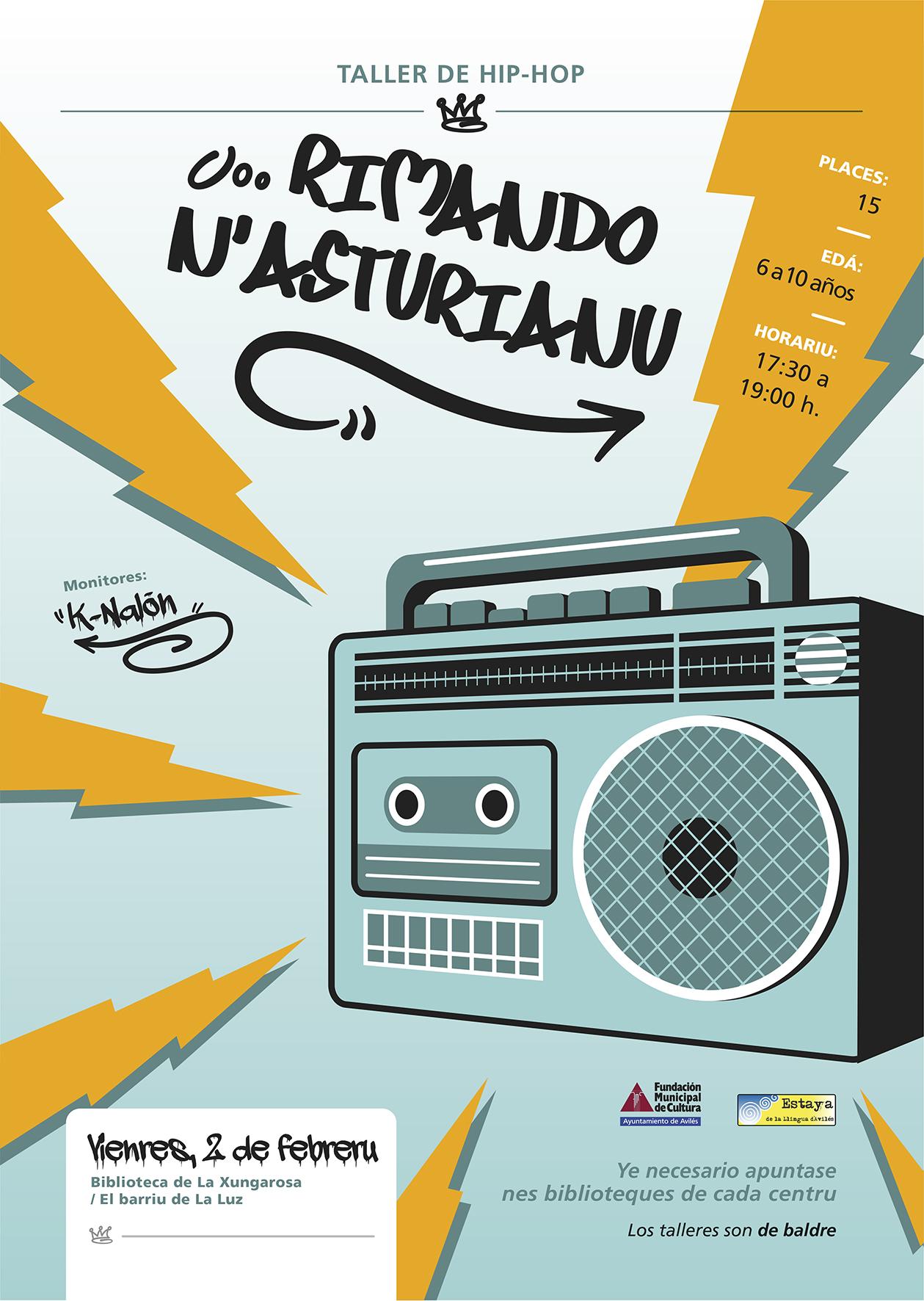 Cartelu primer taller 'Rimando n'asturianu'