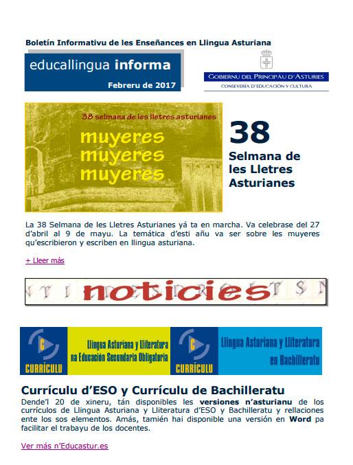 Un boletín de calter mensual va informar de les novedaes en materia llingüística nel ámbitu educativu
