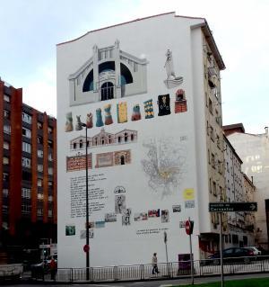 Inauguróse'l mural d'Avilés, que nun incorporó testu n'asturianu