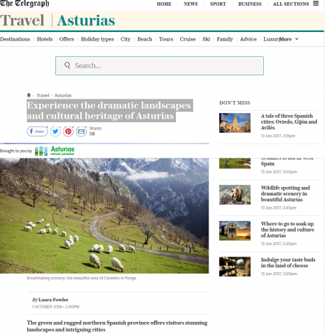 Artículu de 'The Telegraph' Asturies