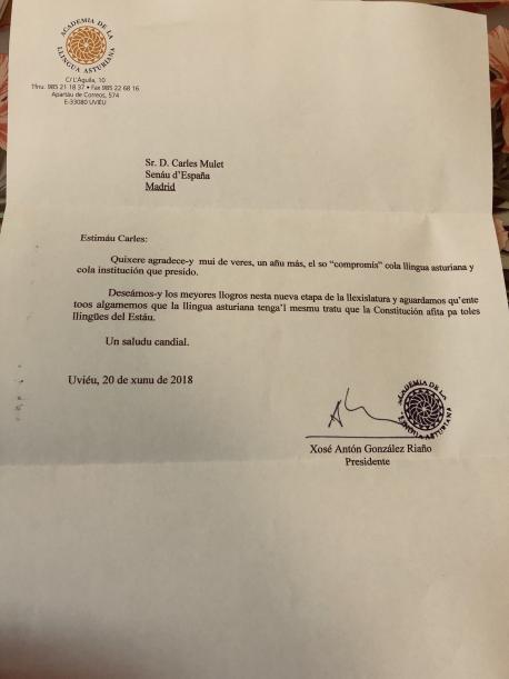 Carta de Xosé Antón González Riaño a Carles Mulet