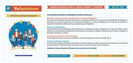 Cartafueyu campaña de matriculación Llingua Asturiana 2017-2018