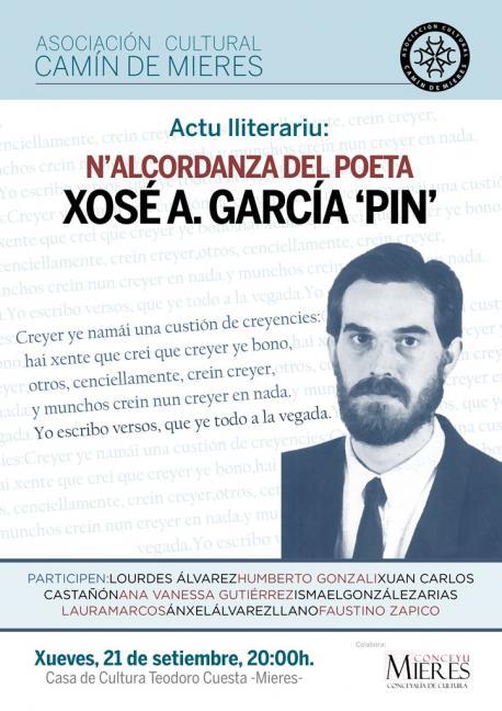 Actu lliterariu n'alcordanza del poeta Xosé A. García 'Pin'