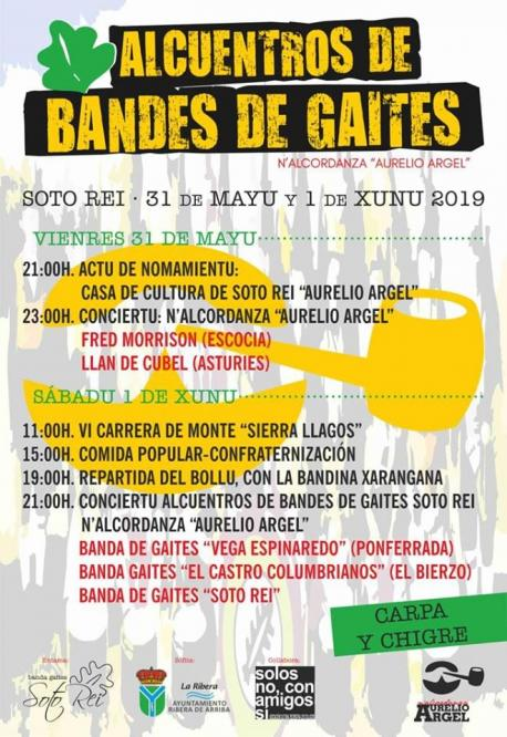 Cartelu Alcuentros de Bandes de Gaites N'Alcordanza Aurelio Argel Soto Rei
