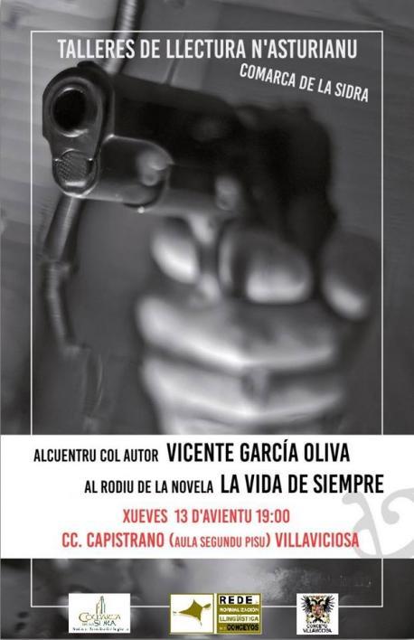 Cartelu alcuentru con llectores Villaviciosa García Oliva 'La vida de siempre'