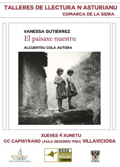 Cartelu alcuentru con Vanessa Gutiérrez 'El paisaxe nuestru' nos Talleres de Llectura de Villaviciosa