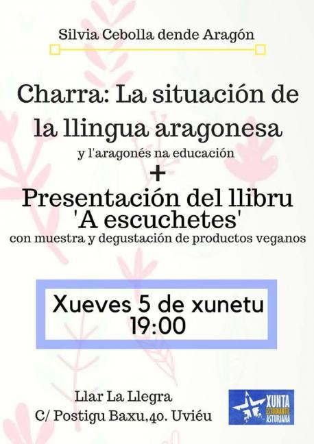 Cartelu charra aragonés y comida vegana Xunta Estudiantil Asturiana