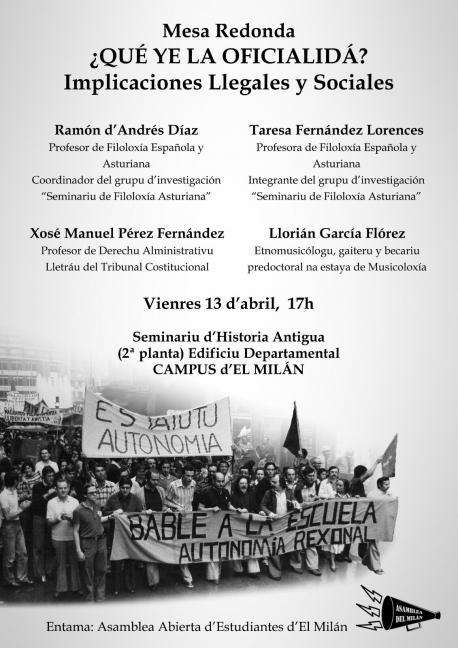 Cartelu charra oficialidá de l'Asamblea Abierta d'Estudiantes d'El Milán