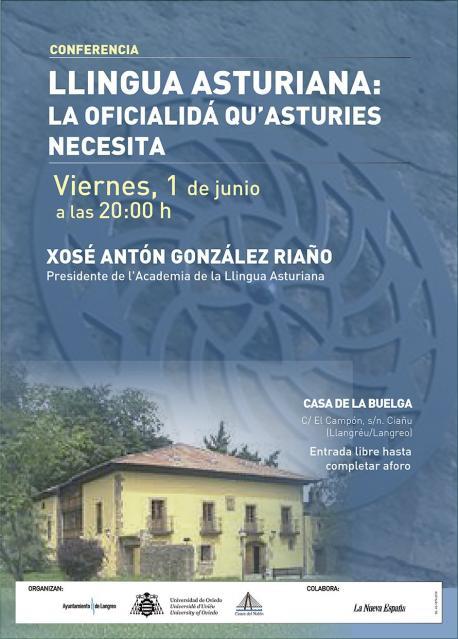 Cartelu charra oficialidá de Xosé Antón González Riaño en Ciañu