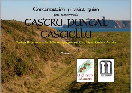 Cartelu concentración Castru Punta'l Castiellu