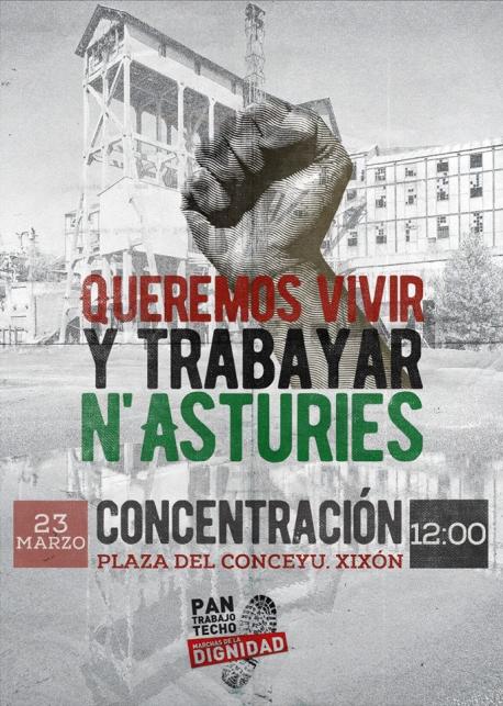 Cartelu concentración 'Queremos vivir y trabayar n'Asturies'