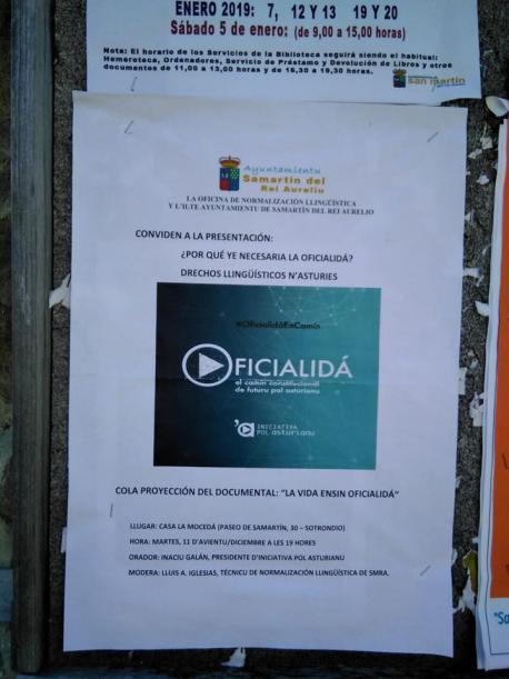 Cartelu conferencia oficialidá Iniciativa pol Asturianu en Samartín del Rei Aurelio