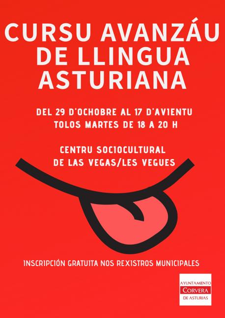 Cartelu Cursu Avanzáu de Llingua Asturiana de Corvera 2019