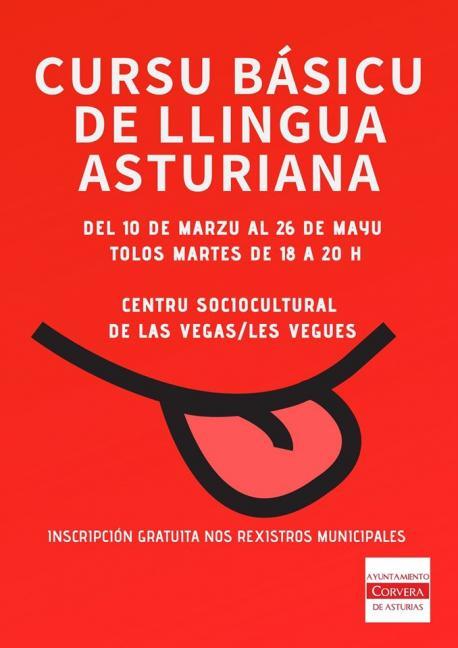 Cartelu Cursu Básicu de Llingua Asturiana de Corvera 2020