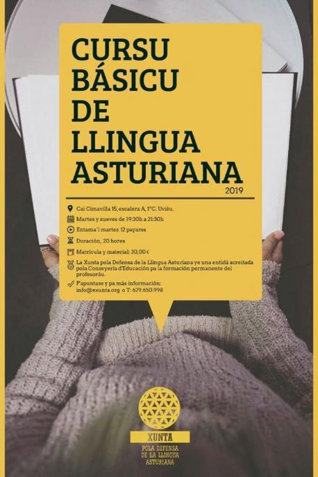 Cartelu Cursu Básicu de Llingua Asturiana de la XDLA seronda 2019