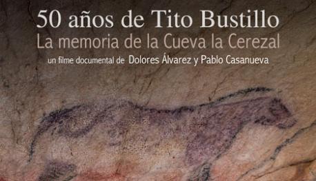 Cartelu de '50 años de Tito Bustillo. La memoria de la cueva La Cerezal'