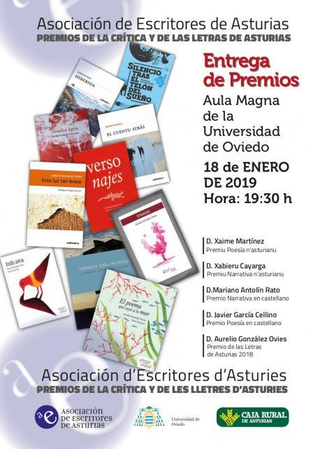 Cartelu entrega de los XVIII Premios de la Crítica d'Asturies