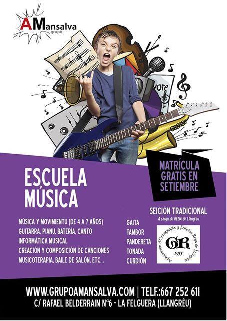 Cartelu Escuela Música d'A Mansalva
