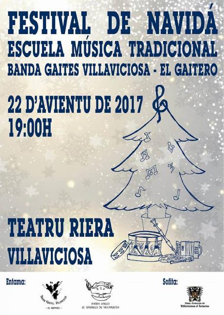 Cartelu Festival de Navidá de la Banda Gaites Villaviciosa-El Gaitero