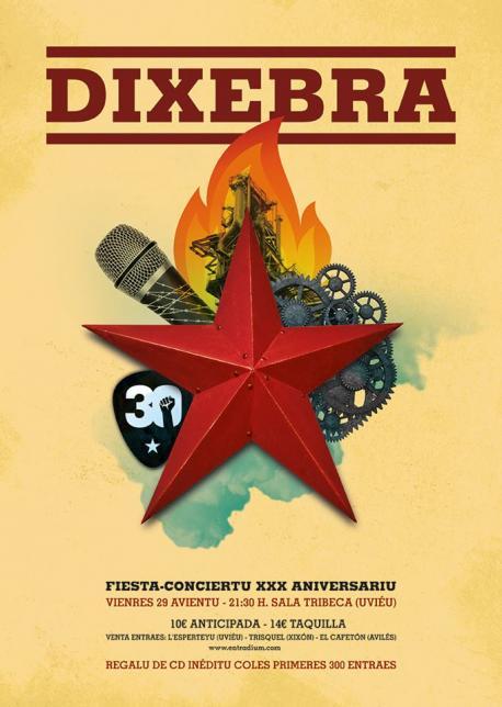 Cartelu fiesta-conciertu 30 aniversariu de Dixebra