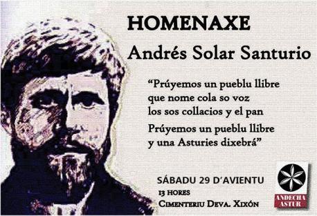Cartelu homenaxe a Andrés Solar Andecha 2019