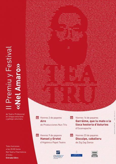 Cartelu II Premiu y Festival Nel Amaro de Teatru Profesional en Llingua Asturiana y Gallego-asturiano