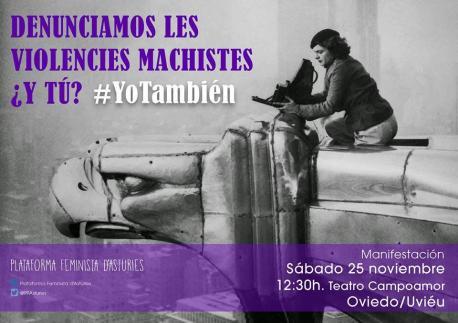 Cartelu manifestación 25-P Plataforma Feminista d'Asturies