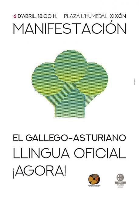 Cartelu manifestación oficialidá gallego-asturiano 6-A