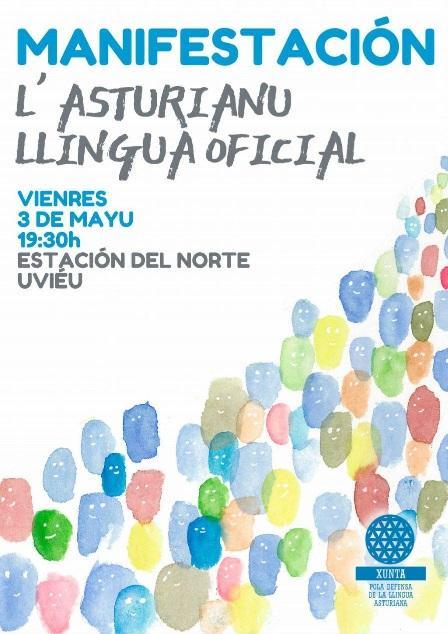 Cartelu manifestación XDLA oficialidá Día de les Lletres Asturianes
