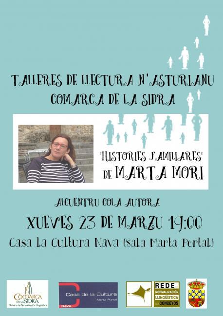 Cartelu Marta Mori alcuentru con llectores en Nava