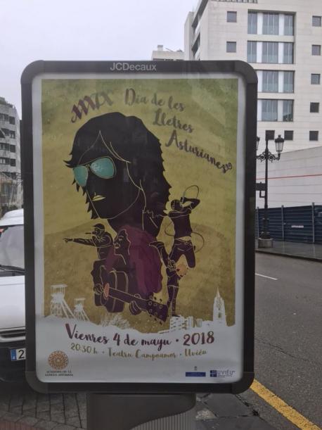 Cartelu na cai del XXXIX Día de les Lletres Asturianes