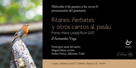 Cartelu presentación de 'Ritanes, ñerbates y otros cantos al pasáu' d'Armando Vega en Xixón
