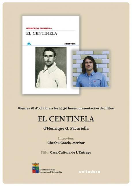 Cartelu presentación 'El centinela' de Facuriella en L'Entregu