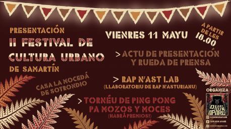 Cartelu presentación II Festival de Cultura Urbano de Samartín