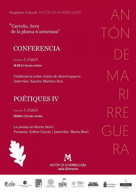 Cartelu programa Antón de Marirreguera 5 d'abril