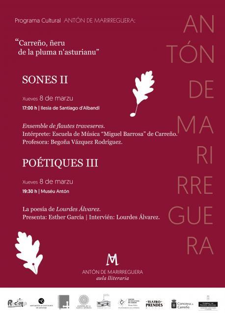 Cartelu programa Antón de Marirreguera 8 de marzu