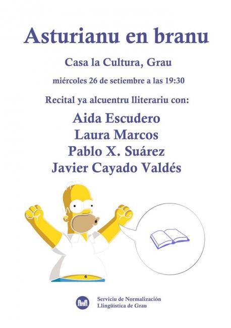 Cartelu recital de poesía 'Asturianu en branu' en Grau