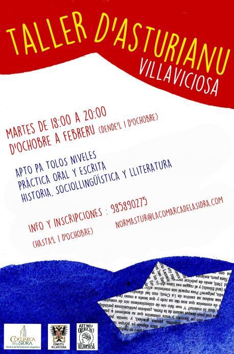 Cartelu Taller d'Asturianu de Villaviciosa ochobre 2019