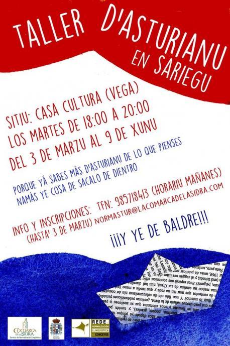 Cartelu Taller d'Asturianu en Sariegu