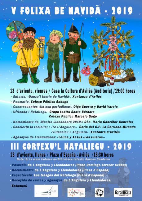 Cartelu V Folixa de Navidá 2019 y III Cortexu'l Nataliegu