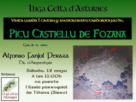 Cartelu visita al castru Picu Castiellu de Fozana Lliga Celta d'Asturies
