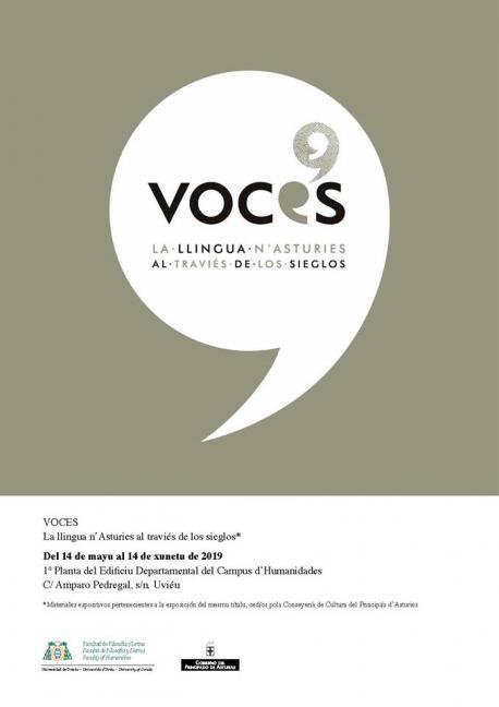 Cartelu 'Voces' na Universidá d'Uviéu