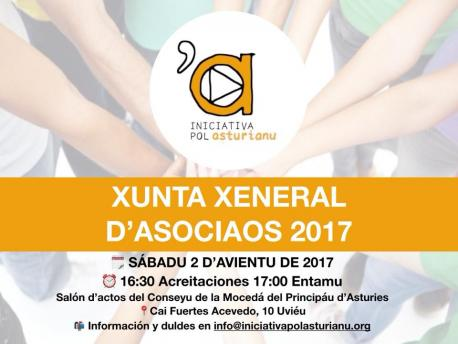 Cartelu Xunta d'Asociaos Iniciativa pol Asturianu