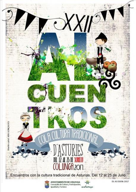 Cartelu XXII Alcuentros cola Cultura Tradicional d'Asturies de Colunga