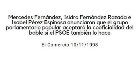 Cherines y el PP propunxéron-y la cooficialidá al PSOE en 1998