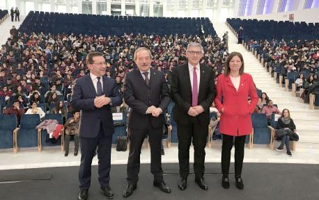 Genaro Alonso, Francisco Wenceslao López Martínez, Santiago García Granda y Elisa Miguélez inauguración Xornaes d'Orientación Universitaria 2018