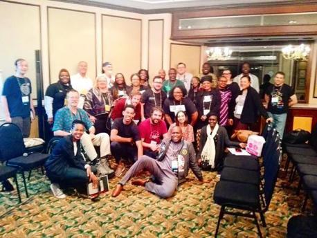 Grupu de trabayu de muyeres afroamericanes con Víctor Suárez na Wikimania 2018 Sudáfrica