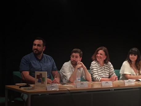 Inaciu Galán, Diego Solís, Almudena Cueto y Noelia Alfonso Presentación Premios Asturies Moza 2018